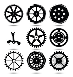 set silhouettes of gears vector image
