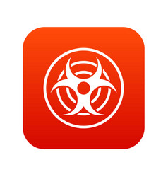 sign of biological threat icon digital red vector image