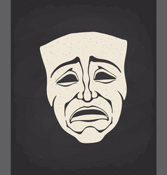 Silhouette theatrical drama mask vector