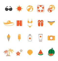 Summer Icons Set with White Background vector