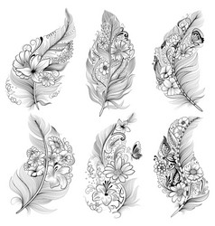 tattoo art design floral feather collection vector image