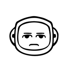Thin line disappointed face icon vector
