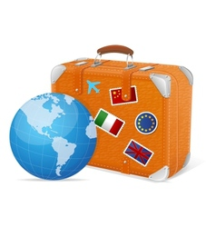 traveling element baggage and globe vector image