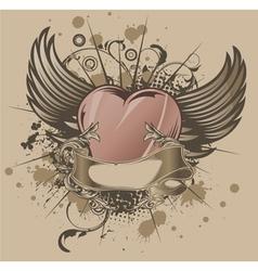 vintage emblem with heart vector image