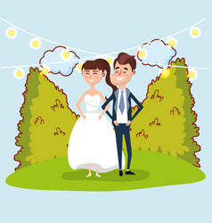 wedding card design cartoon vector image