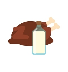 Whole chicken and milk bottle icon vector