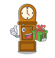 With gift grandfather clock mascot cartoon vector