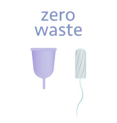 Zero waste concept poster tampons vs menstrual vector