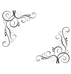 abstract floral black decorative element frame vector image
