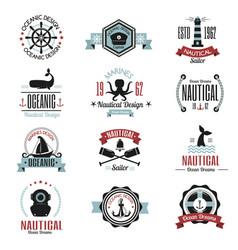 fashion nautical logo sailing themed label or icon vector image