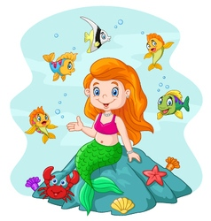 Happy little mermaid sitting on the rock surround vector image vector image