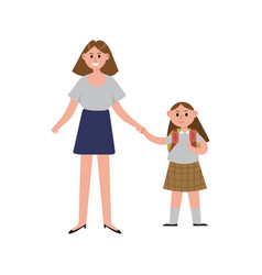 Mother taking her daughter to school cartoon vector