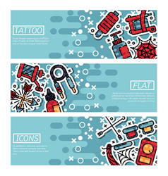 set of horizontal banners about tattoo vector image vector image