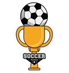 Soccer sport ball trophy tournament image vector