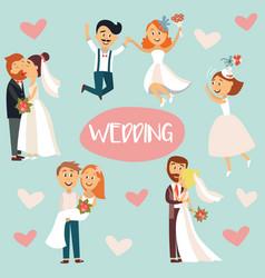 funny cartoon wedding couple bride and groom vector image vector image