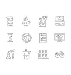 laboratory expertise flat line icons set vector image