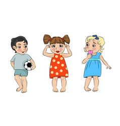 three cartoon children vector image