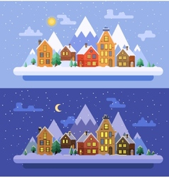 Winter nature Christmas time flat vector image vector image