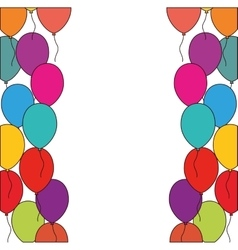 colored balloons decoration party white background vector image