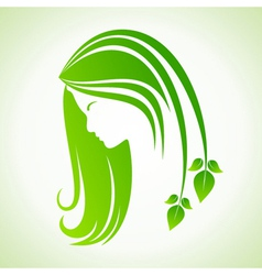Eco icon with women face vector image vector image