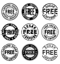 Free sugar and caffeine round stamps vector image vector image