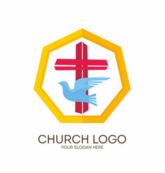 Jesus cross and dove the holy spirit vector
