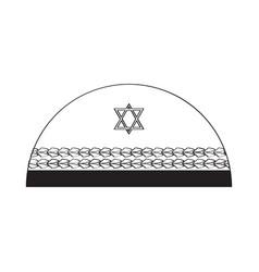 Jewish kippa outline vector
