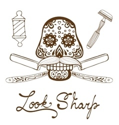 Look sharp Skull with mustache Retro style hand vector image vector image