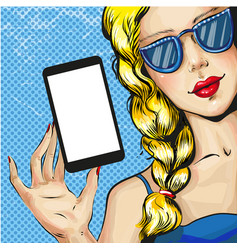 pop art of blond woman with vector image vector image