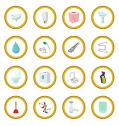 sanitary engineering cartoon icon circle vector image