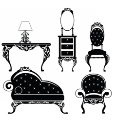 Baroque style furniture set vector