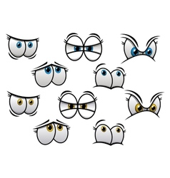 Cartoon eyes with different emotions vector image vector image