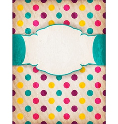 Colorful textured polka dot design with label vector image