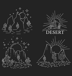 Dayly and nightly desert vector