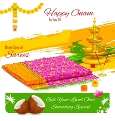 Gift of saree in Happy Onam vector image