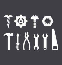 manual tools and instruments set white isolated vector image vector image