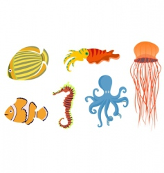 underwater fish icons vector image vector image