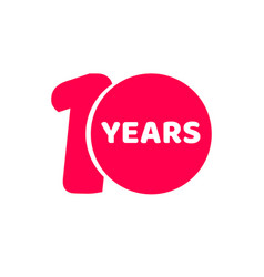 10 years anniversary logo template isolated red vector image