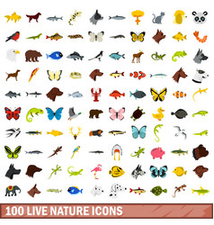 100 live nature icons set flat style vector image