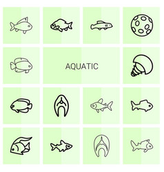 14 aquatic icons vector