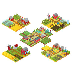3d isometric rural farms set with tractor vector