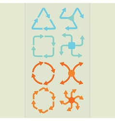 Abstract direction arrows icons set vector