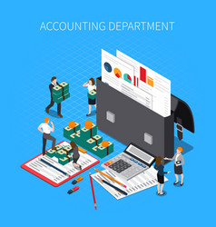Accounting department isometric composition vector