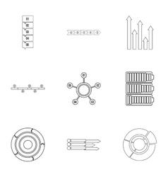 Analytics icons set outline style vector