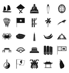 asian countries icons set simple style vector image