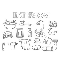bathroom elements hand drawn set vector image