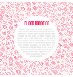 Blood donation concept with thin line icons vector