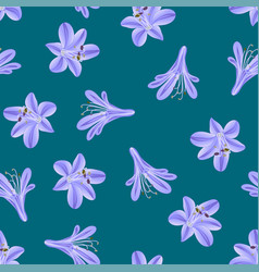 Blue purple agapanthus on green teal background vector
