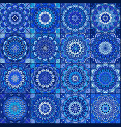Blue tile boho flower set vector