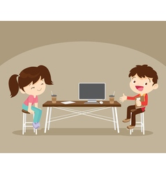 Boy and girl sitting work table vector